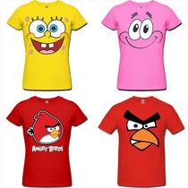 Camiseta Bob Esponja Patrick Angry Birds Jogos Games Heróis