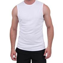Camiseta Regata Machão Branca-100%poliester-fio 30.1