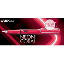 Caneta Tinteiro Lamy Safari Coral Neon Ed Limita + Conversor