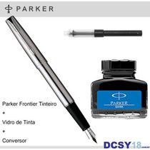 Caneta Parker Frontier Ss Tinteiro | Conversor E Vidro Tinta
