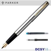 Caneta Parker Frontier - Aço & Ouro | Tinteiro C/ Conversor