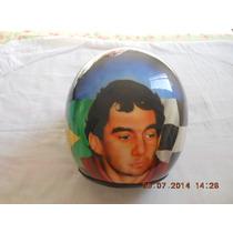 Capacete Grafitado Pra Colecionador Ayrton Senna