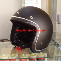 Capacete Custom Old School Preto Fosco- Forro Personalizado
