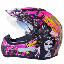 Capacete Helt Cross Vision Pink Black Friday