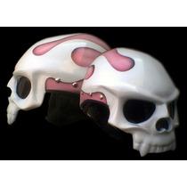 Capacete Caveira Fogo Rosa - Frete Grátis - Feminino