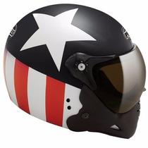 Capacete Capitão América Motoqueiro Peels F-21 Preto