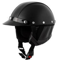 Capacete Pro Tork Coquinho Moto Custom Em Couro + Brinde