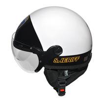 Capacete Kraft Rota 66 Sherif Com Viseira Branco Preto - 58