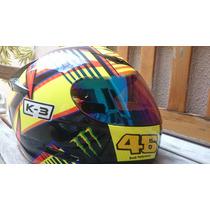 Capacete Valentino Rossi 46 Italia K3 Monster Com 2 Viseiras