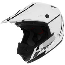 Capacete Motocross Pro Tork Th1 Connect Solid Branco Trilha