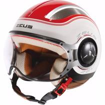 Capacete Zeus 218 Ss6 White Red Branco E Vermelho Aberto