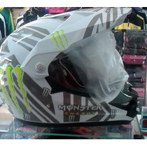 Capacete Cross Monster Energy Modelo Top Com Viseira E Aba