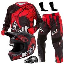 Capacete Moto Cross Trilha + Calça E Camisa Jett Veneno