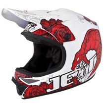 Capacete Motocross Jett Veneno Branco Vermelho + Frete