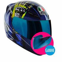 Capacete Agv K-3 Valentino Rossi Mugello Hands+ Viseira Azul