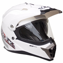Capacete Cross Texx Double Vision Branco Viseira Dupla