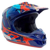 Capacete Fox V1 Motocross Trilha Enduro Off Road Radeon Azul