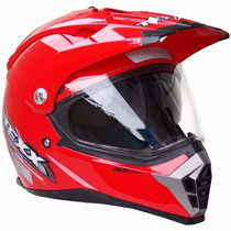 Capacete Cross Texx Double Vision Vermelho Viseira Dupla