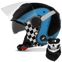Capacete Aberto New Atomic Highway Dreams Vintage Azul Preto