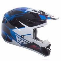 Capacete Cross Fly Racing Kinetic Azul/branco Infantil