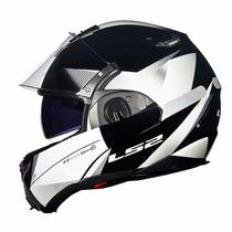 Capacete Ls2 Ff393 Hawk Articulado Robocop Preto Branco Moto