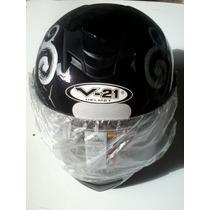 Capacete V21 Helmet Preto Tamanho 58 E 60 + Brinde
