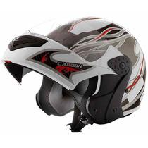 Capacete Moto Mix Gladiator Carbon Branco Transfer Robocop