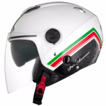 Capacete Zeus 202fb T49 Park Avenue White Green Red Aberto