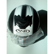 Capacete V21 Helmet 60 Preto Com Faixa Branca