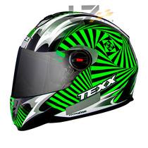 Capacete Texx Action Hypnose Viseira Solar Verde Kawasaki