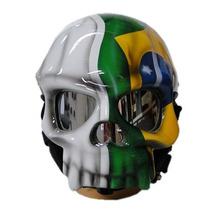 Capacete Caveira - Pintura Bandeira Brasil - Frete Grátis.