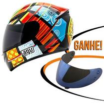 Capacete Agv K3 Elements Valentino Rossi Amar/verm 63/64 Rs1