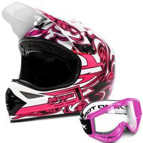 Capacete Mirage Pro Tork Cross Rosa Trilha +óculos Rosa Moto