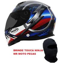 Capacete Nasa Sh881 Phanton Azul Vermelho Leve Touca Ninja