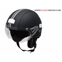 Capacete Kraft Aberto Couro Custom Harley Drag Shadow N 57