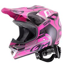 Capacete Moto Pro Tork Squad E Óculos 788 Rosa