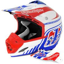 Capacete Motocross Troy Lee Design Se3 Brasil Vermelho Azul