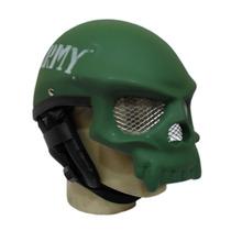 Capacete Caveira Verde Fosco Com Viseira Tela - Army