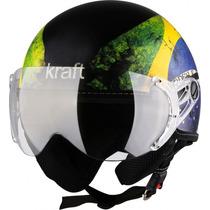 Capacete Kraft Plus Brasil Brilho Viseira Simples-58