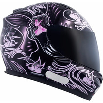 Capacete Mt Blade Feminino New Butterfly Preto/pink 56