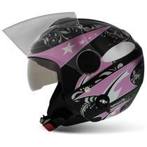 Capacete Aberto Feminino Pro Tork New Atomic Preto Rosa Moto