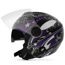 Capacete New Atomic For Girls Preto Lilas Aberto Pro Tork