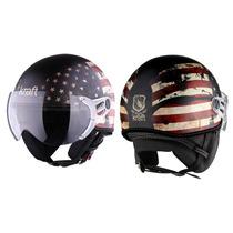 Capacete Kraft Bandeira Usa Aberto Harley Scooter Drag