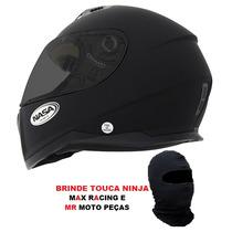 Capacete Nasa Sh881 Monocolor Preto Fosco 56 58 60 62 64