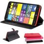Case Carteira Capa Couro Nokia Lumia 1320 + Pelicula D Vidro