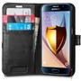Capa Carteira Flip Couro Original Spigen Galaxy S6 + Vidro