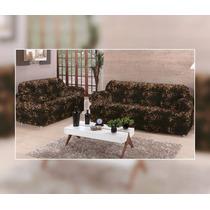 Capa De Sofa Estampada De Onça 3x2 Lugares 21 Elastico