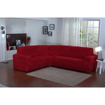 Capa De Sofa Malha Elásticada De Canto Vermelho
