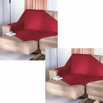 2 Manta P/ Sofá Cama Dohler 1,20x1,50m 100% Algodão Vermelha