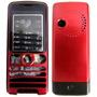 Carcaça Celular Sony Ericsson W200 - Preta Com Vermelho